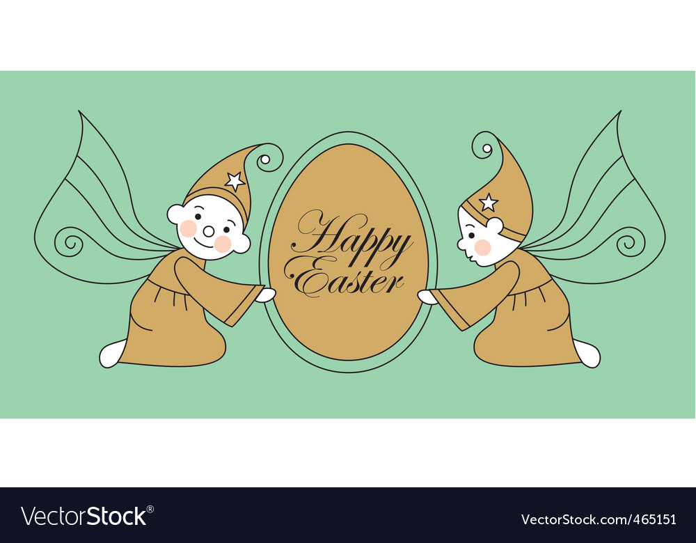 Easter egg with elves vector | Price: 1 Credit (USD $1)
