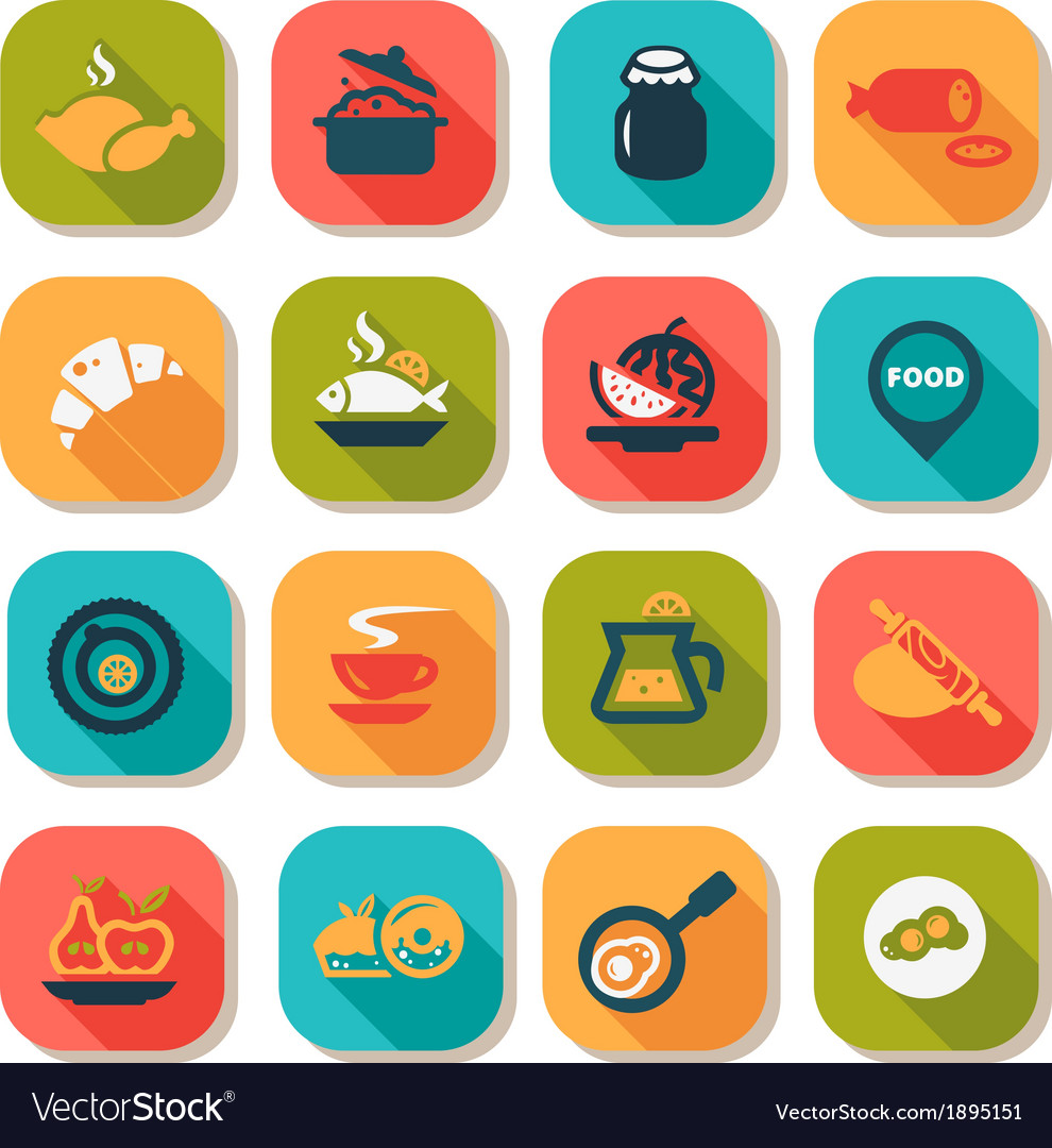 Flat food icon set vector | Price: 1 Credit (USD $1)