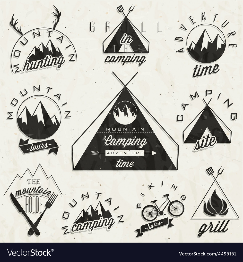 Mountain expedition symbols and signs vector | Price: 1 Credit (USD $1)