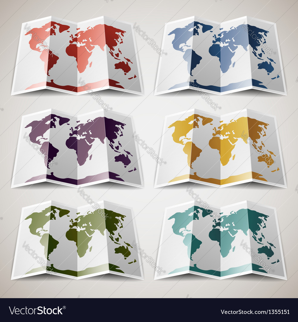 Set of retro colored maps of the world vector | Price: 1 Credit (USD $1)