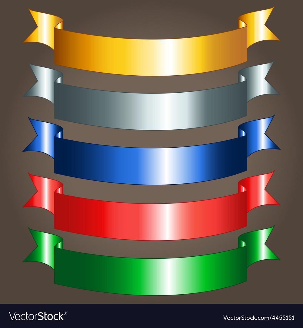 Shiny ribbon banners vector