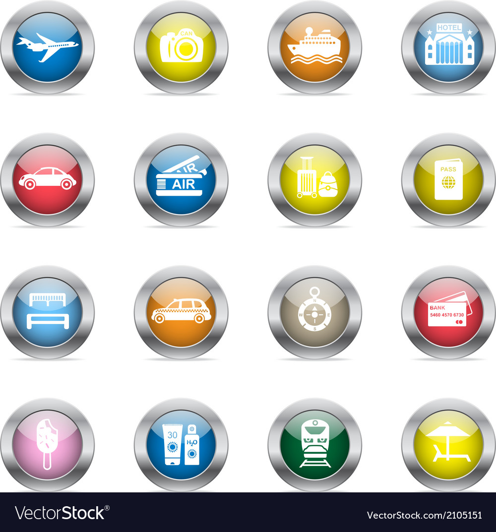 Travel icons in color glossy circles vector | Price: 1 Credit (USD $1)