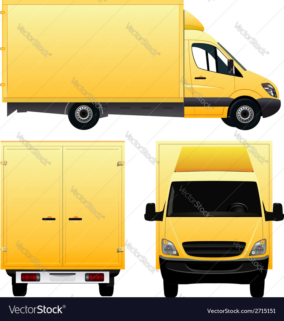 Yellow cargo van - truck vector | Price: 3 Credit (USD $3)