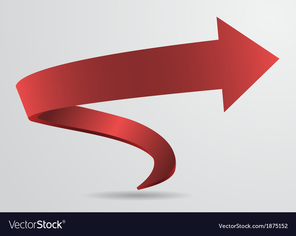 3d red spiral arrow pointer sign abstract vector | Price: 1 Credit (USD $1)