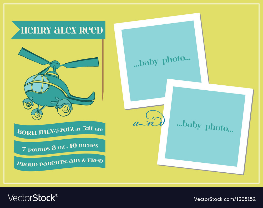 Baby boy arrival card with photo frame vector | Price: 1 Credit (USD $1)