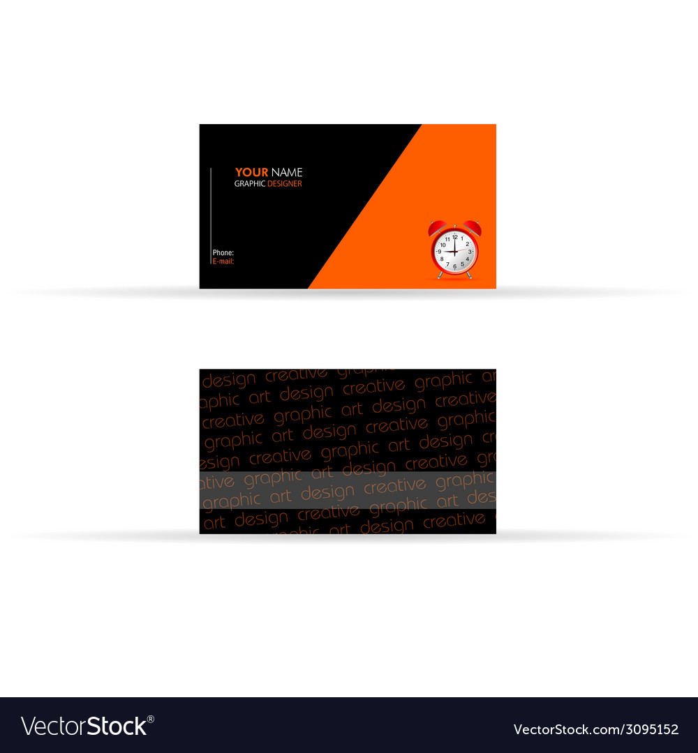 Business card black and orange color vector | Price: 1 Credit (USD $1)