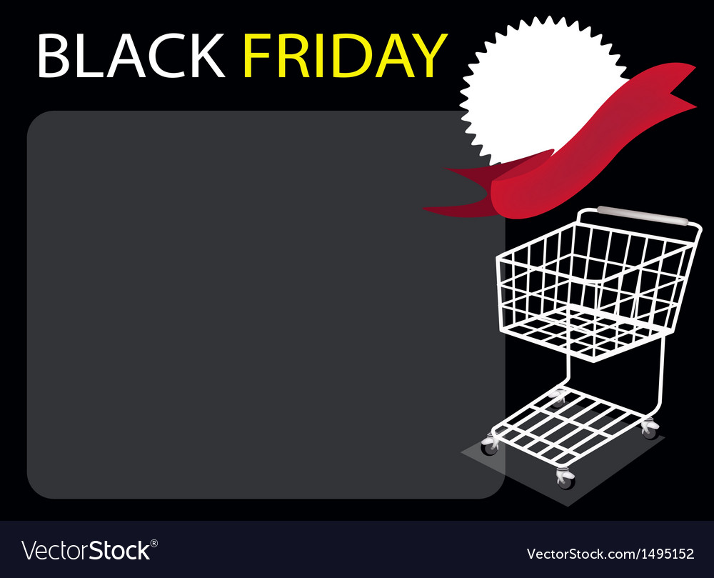 Cart and banner on black friday background vector | Price: 1 Credit (USD $1)