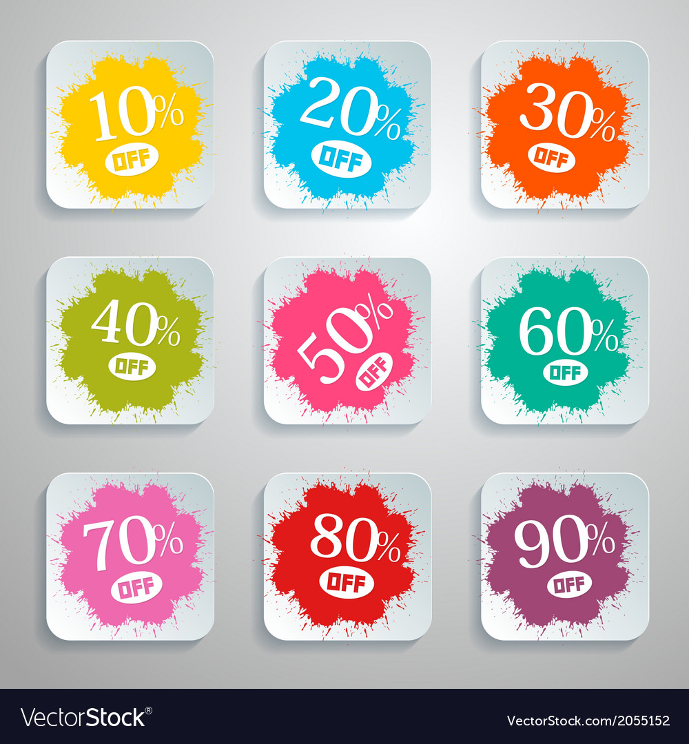 Discount splash - paper labels set vector | Price: 1 Credit (USD $1)