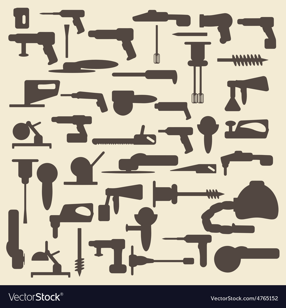 Electric construction tools silhouette icons set vector | Price: 1 Credit (USD $1)