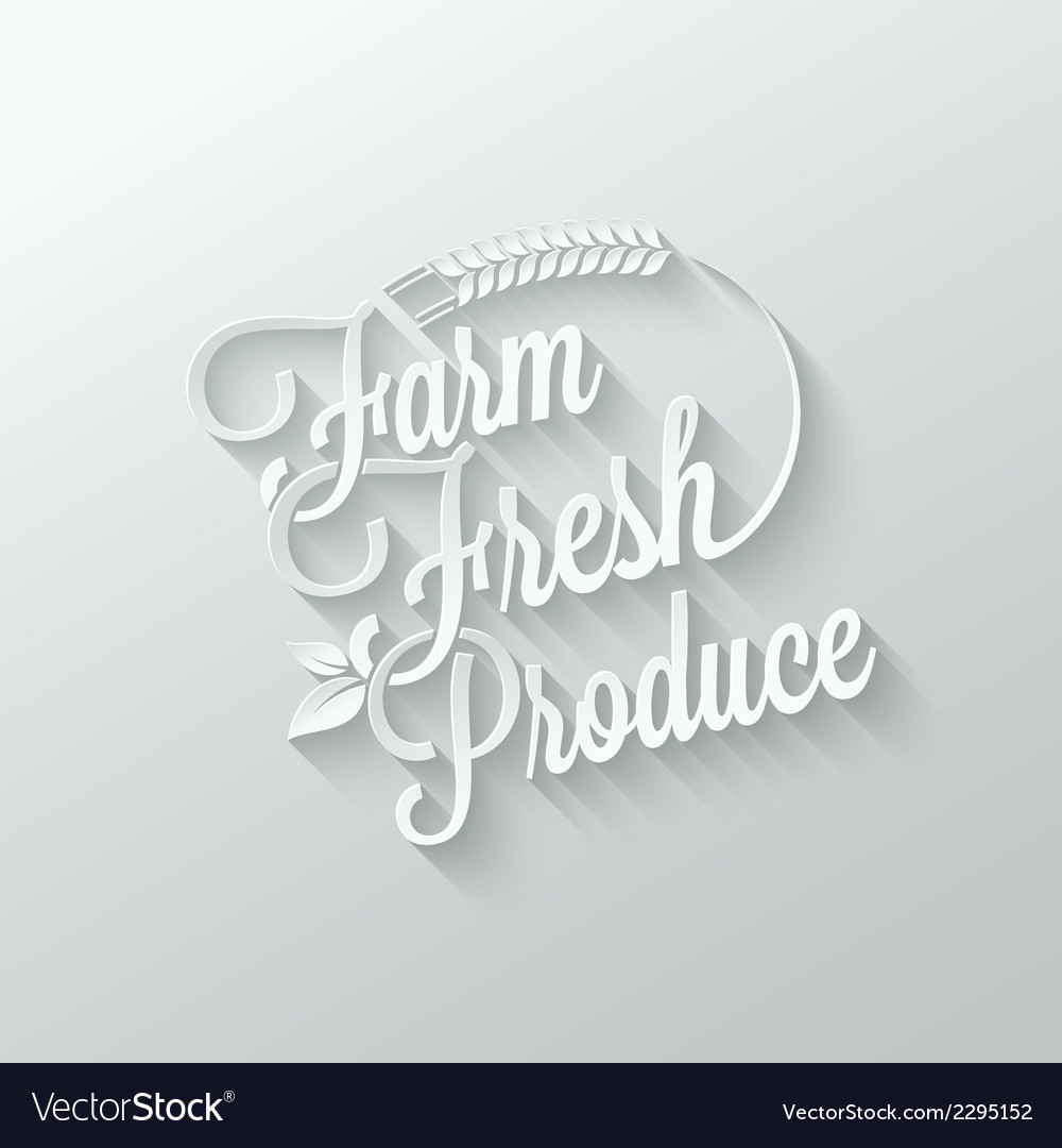 Farm fresh cut paper lettering background vector | Price: 1 Credit (USD $1)