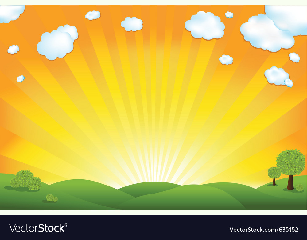Green field and sunrise vector | Price: 1 Credit (USD $1)
