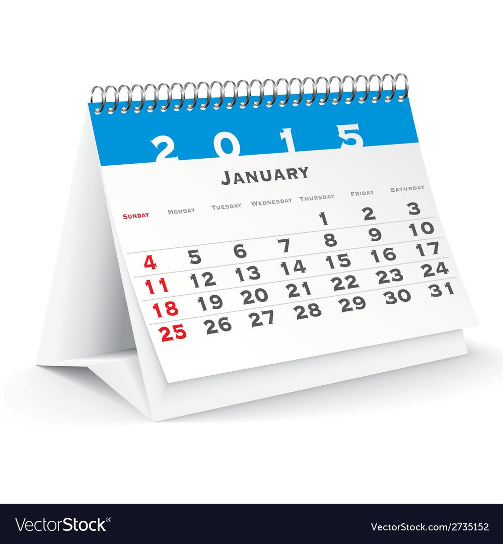 January 2015 desk calendar - vector | Price: 1 Credit (USD $1)