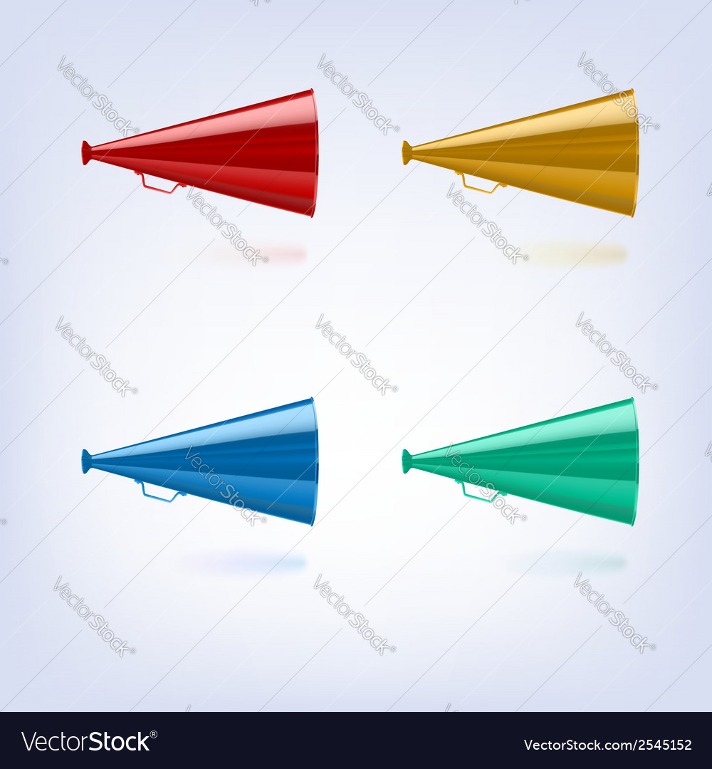 Megaphones set different colors vector | Price: 1 Credit (USD $1)