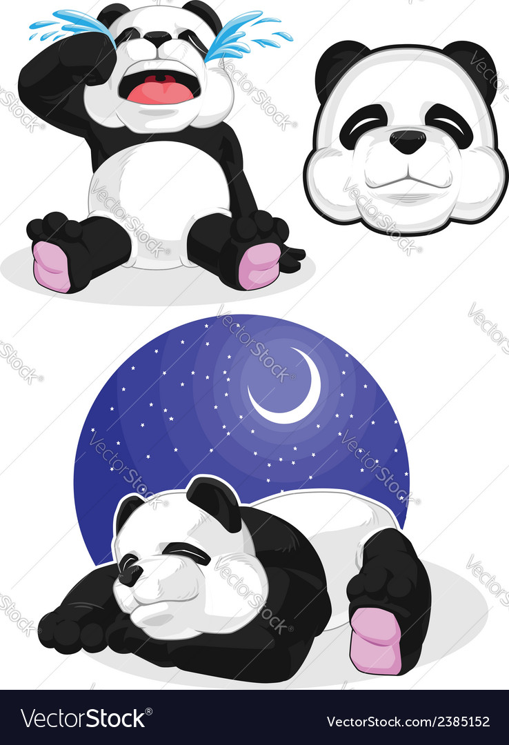 Panda set 2 sleeping crying panda head vector | Price: 1 Credit (USD $1)