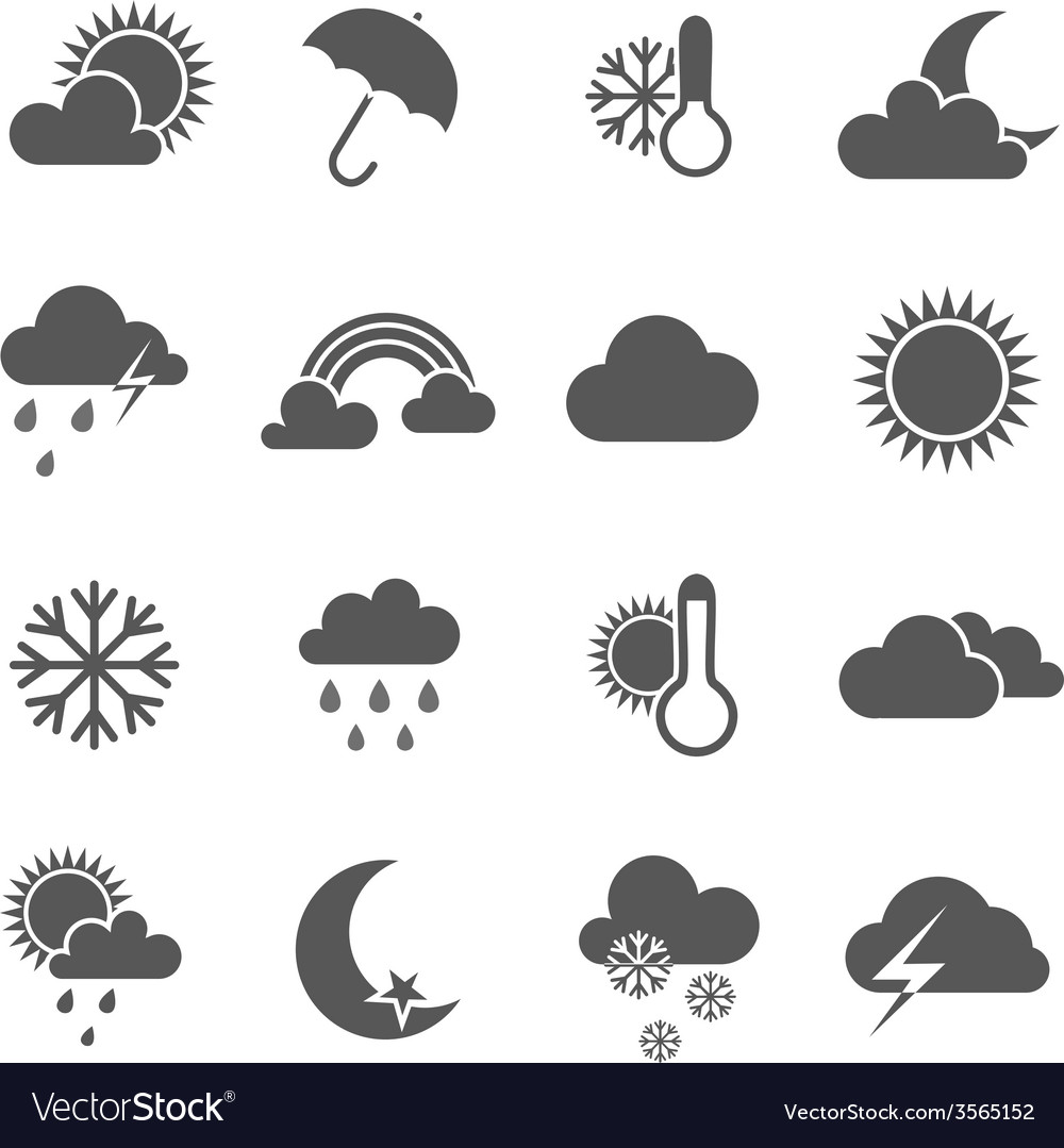Set of black and white weather icons vector | Price: 1 Credit (USD $1)