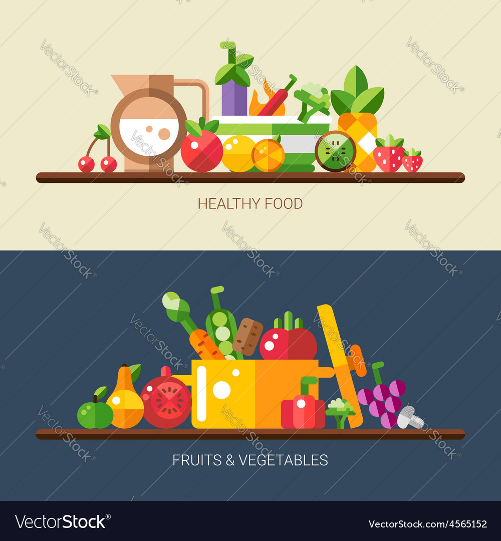 Set of flat design fruits and vegetables icons vector | Price: 1 Credit (USD $1)