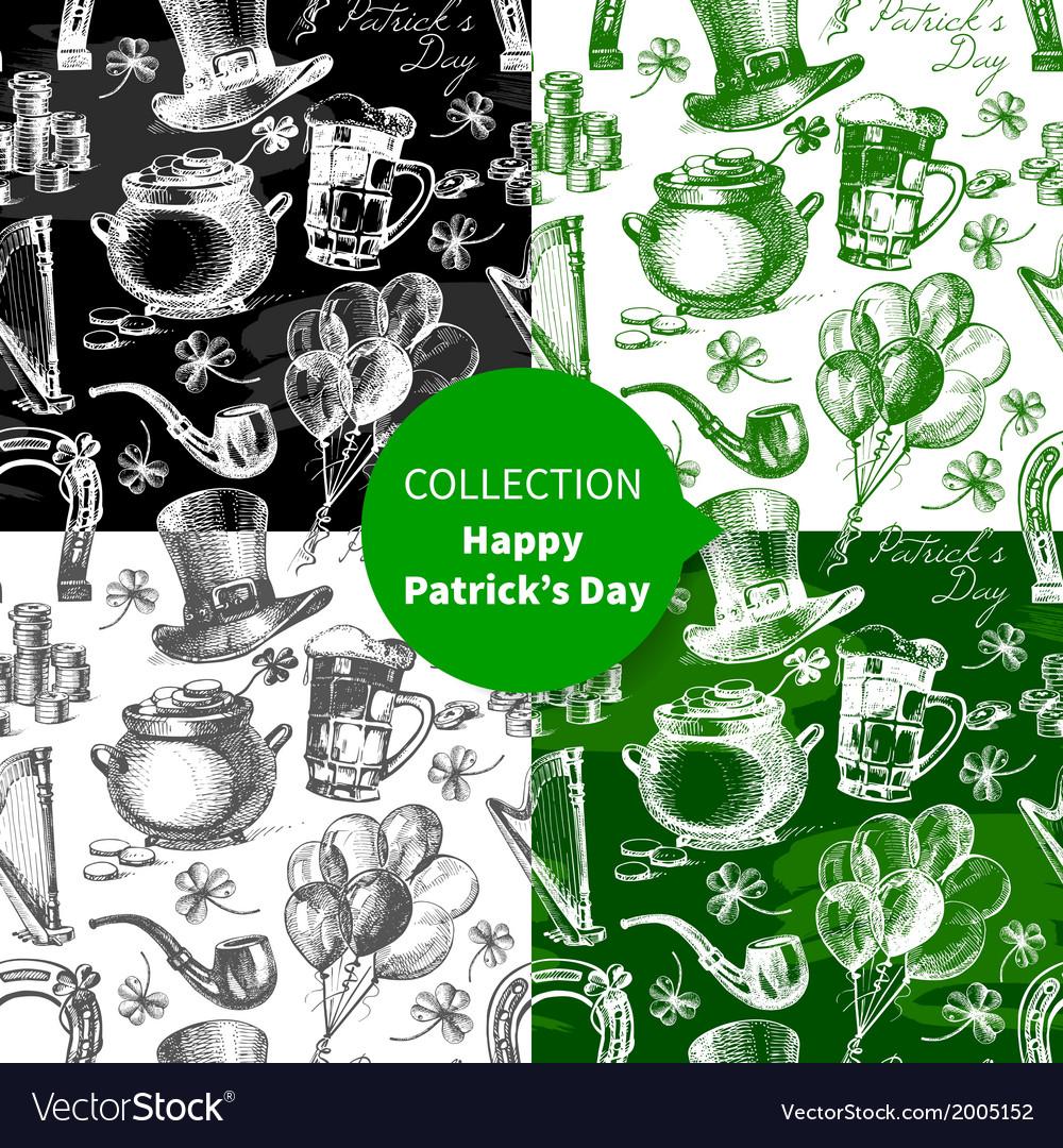 Set of st patricks day seamless patterns vector   Price: 1 Credit (USD $1)