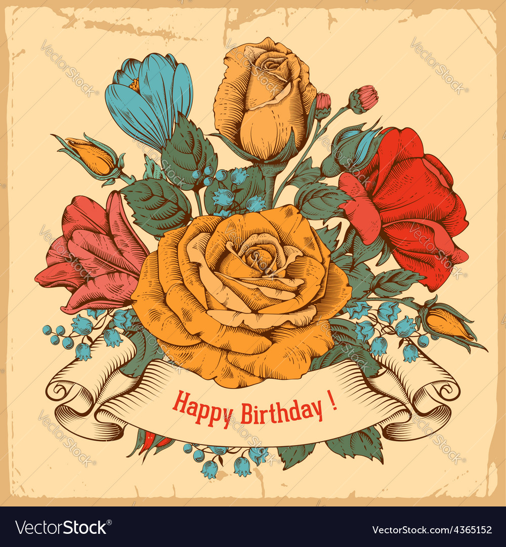 Vintage rose background vector
