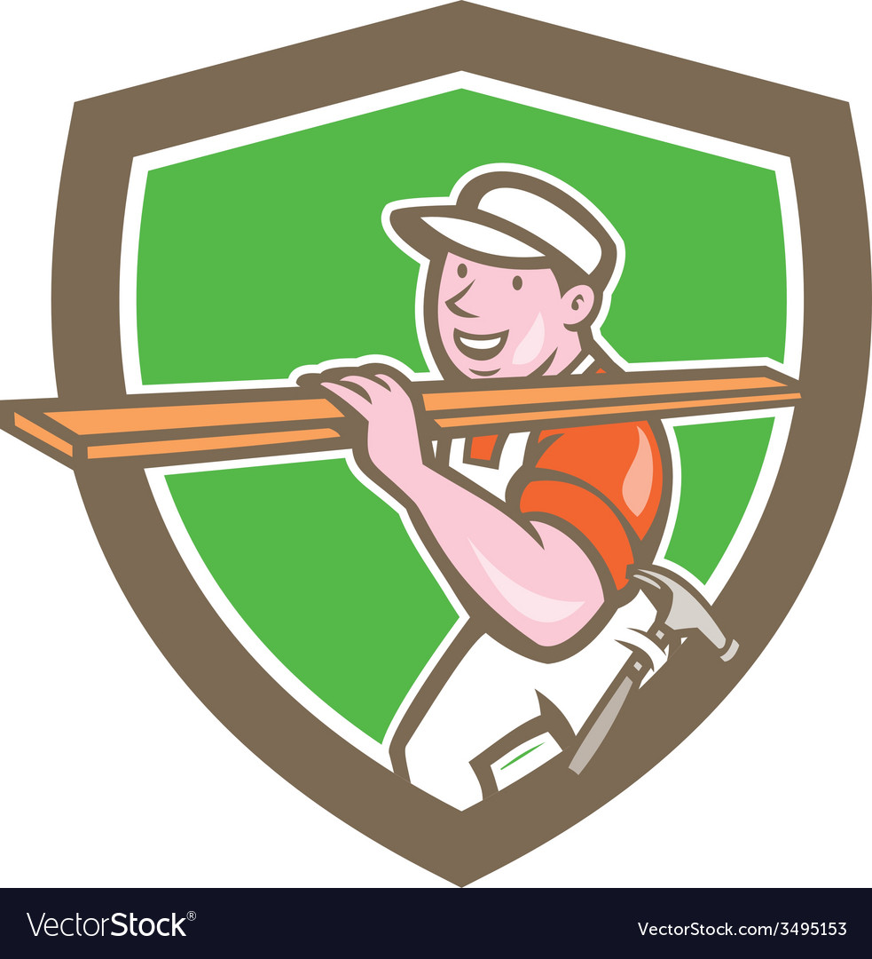 Builder carpenter carrying timber shield cartoon vector | Price: 1 Credit (USD $1)