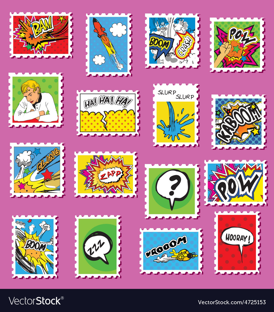 Collection of comic book style post stamps vector | Price: 1 Credit (USD $1)