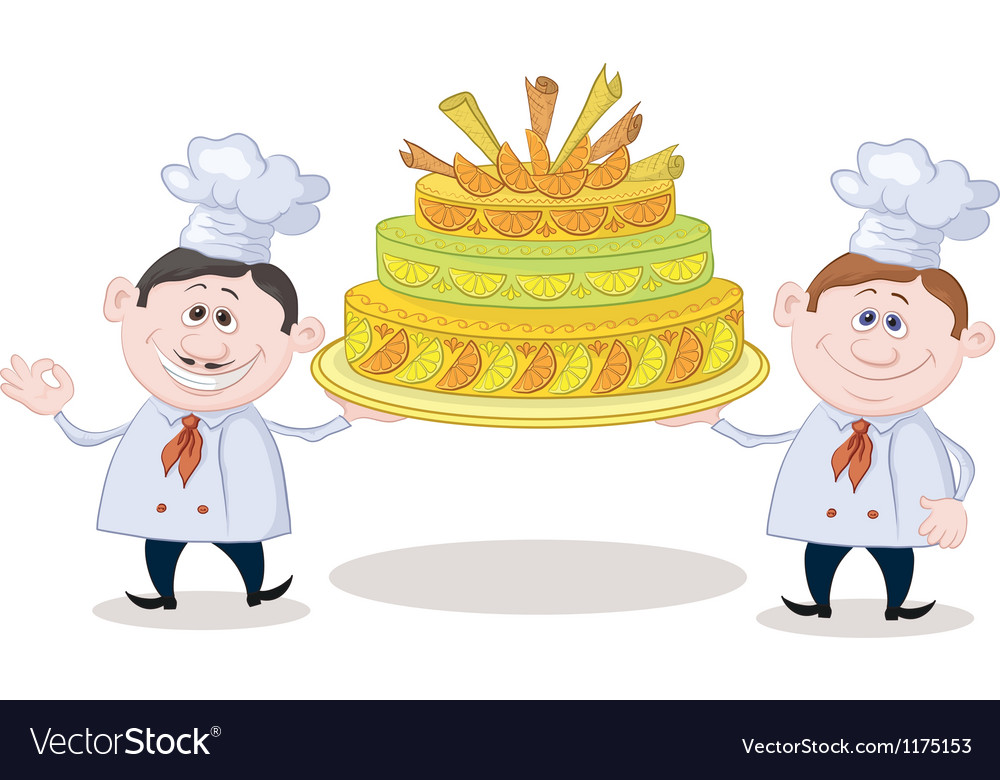 Cooks with holiday cake vector | Price: 3 Credit (USD $3)