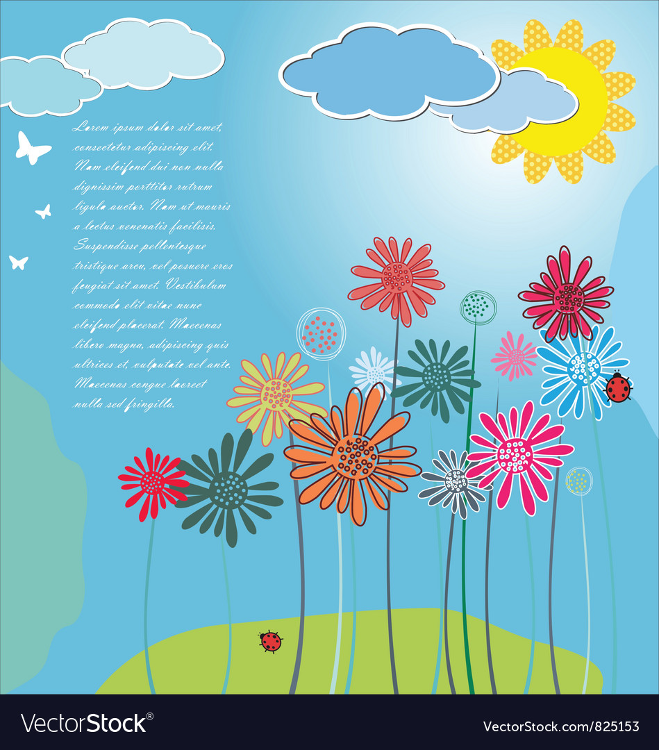 Cute spring background vector | Price: 1 Credit (USD $1)