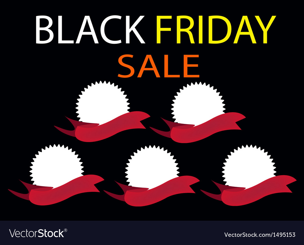 Five round banners on black friday background vector | Price: 1 Credit (USD $1)