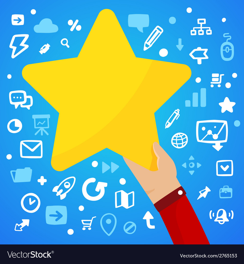 Mans hand holding a large yellow star on a blue vector | Price: 1 Credit (USD $1)