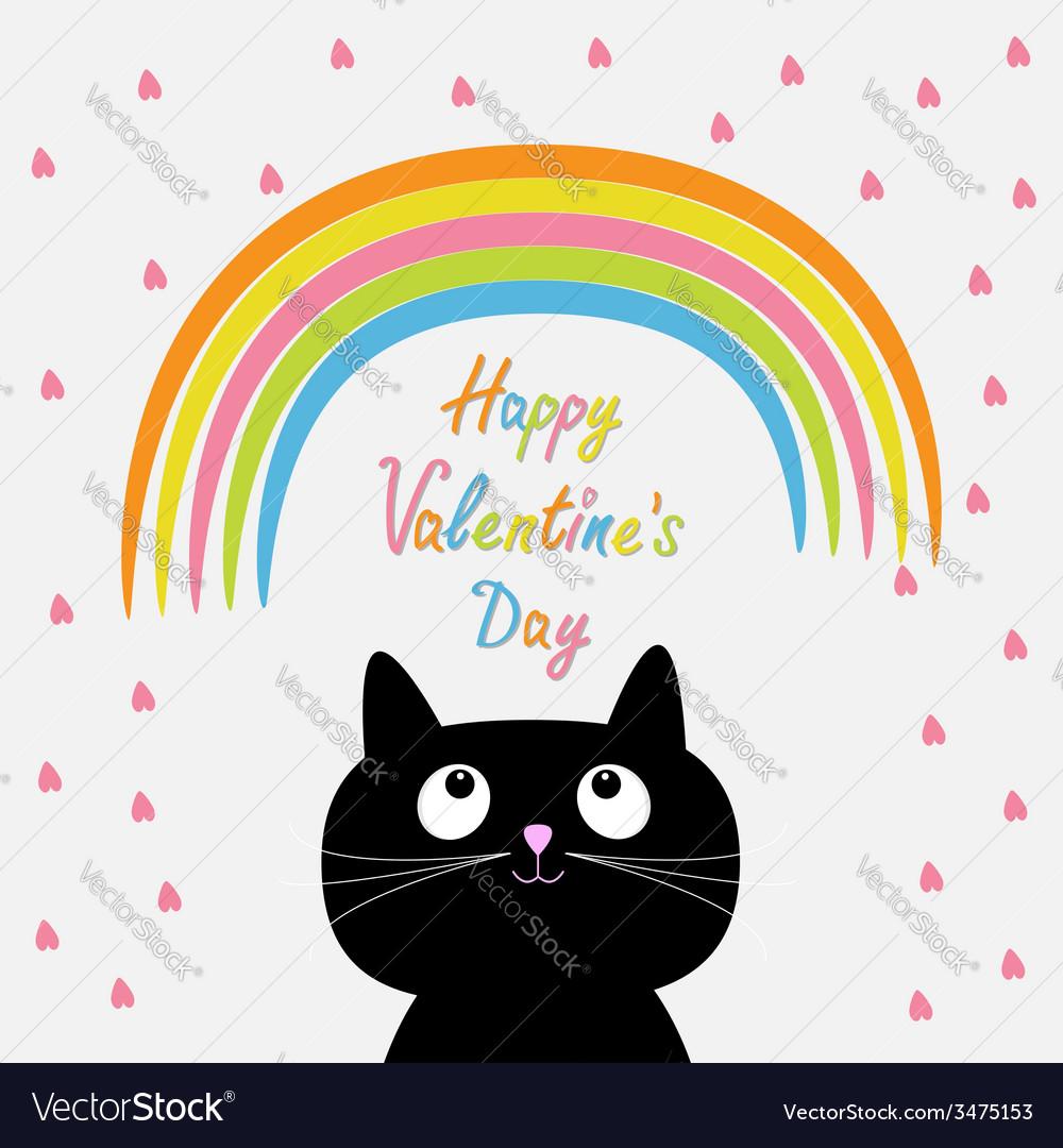 Rainbow and pink heart rain with cute cartoon cat vector | Price: 1 Credit (USD $1)