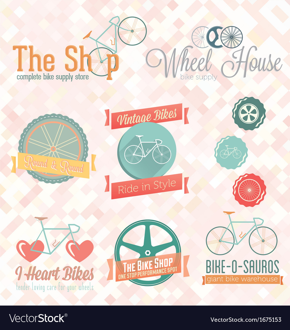 Retro bike shop labels and icons vector | Price: 1 Credit (USD $1)