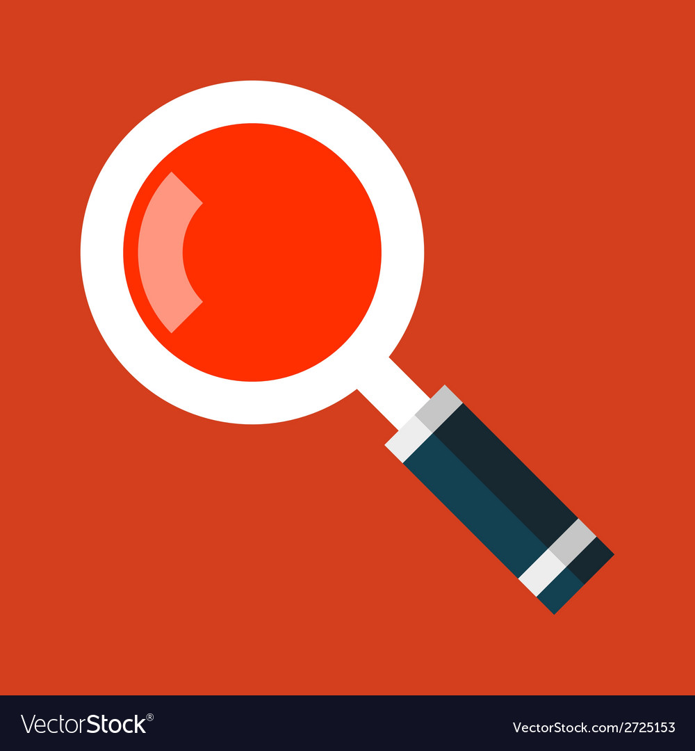 Search magnifying glass icon in flat style vector | Price: 1 Credit (USD $1)