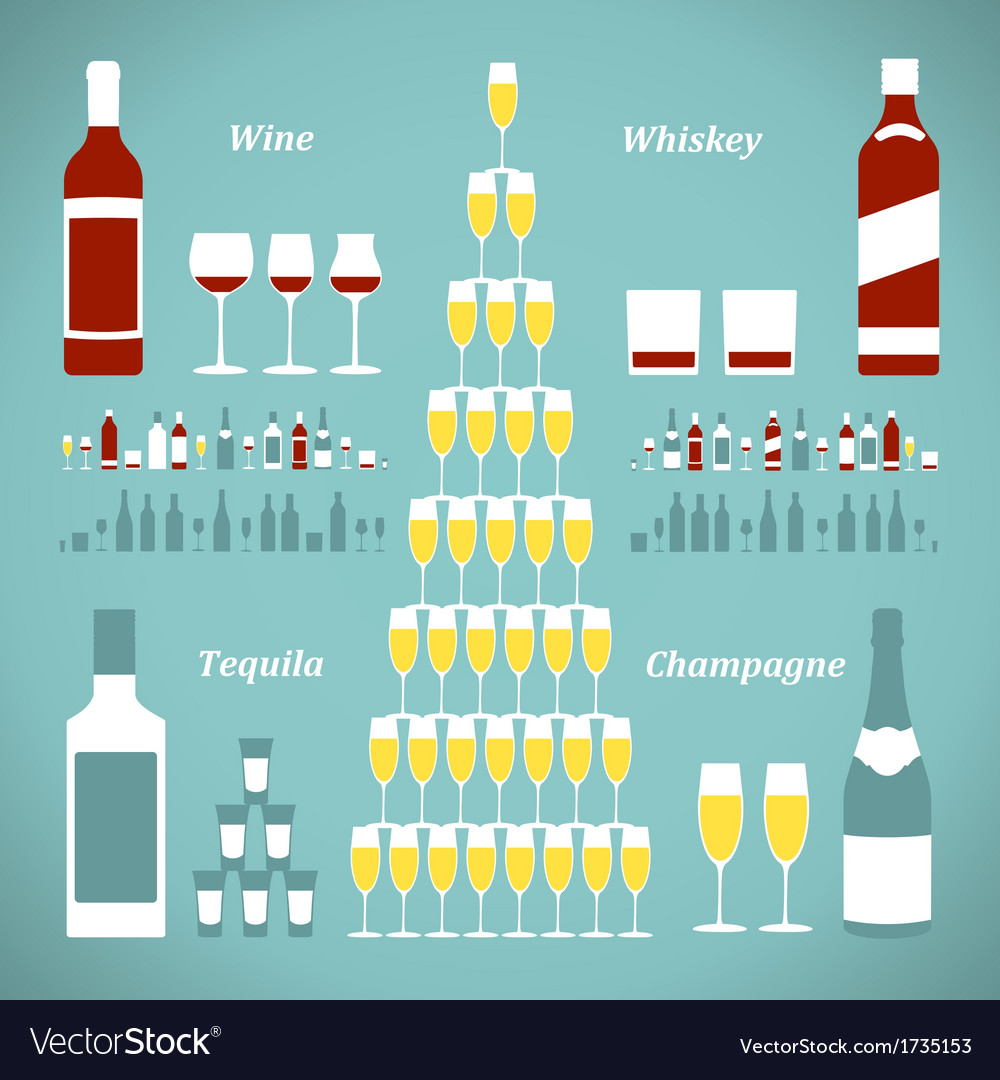 Set of alcohol bottles vector | Price: 1 Credit (USD $1)