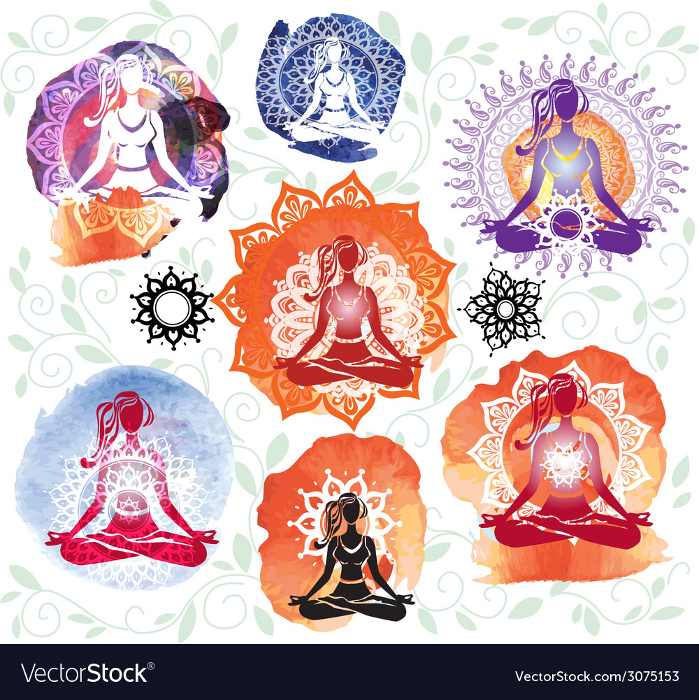 Silhouette of woman meditating in lotus position vector