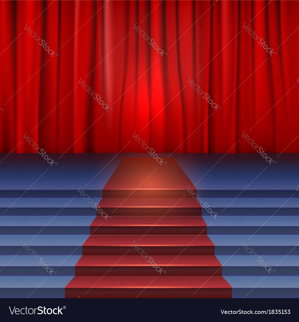 Theater stage with red curtain and carpet vector | Price: 1 Credit (USD $1)