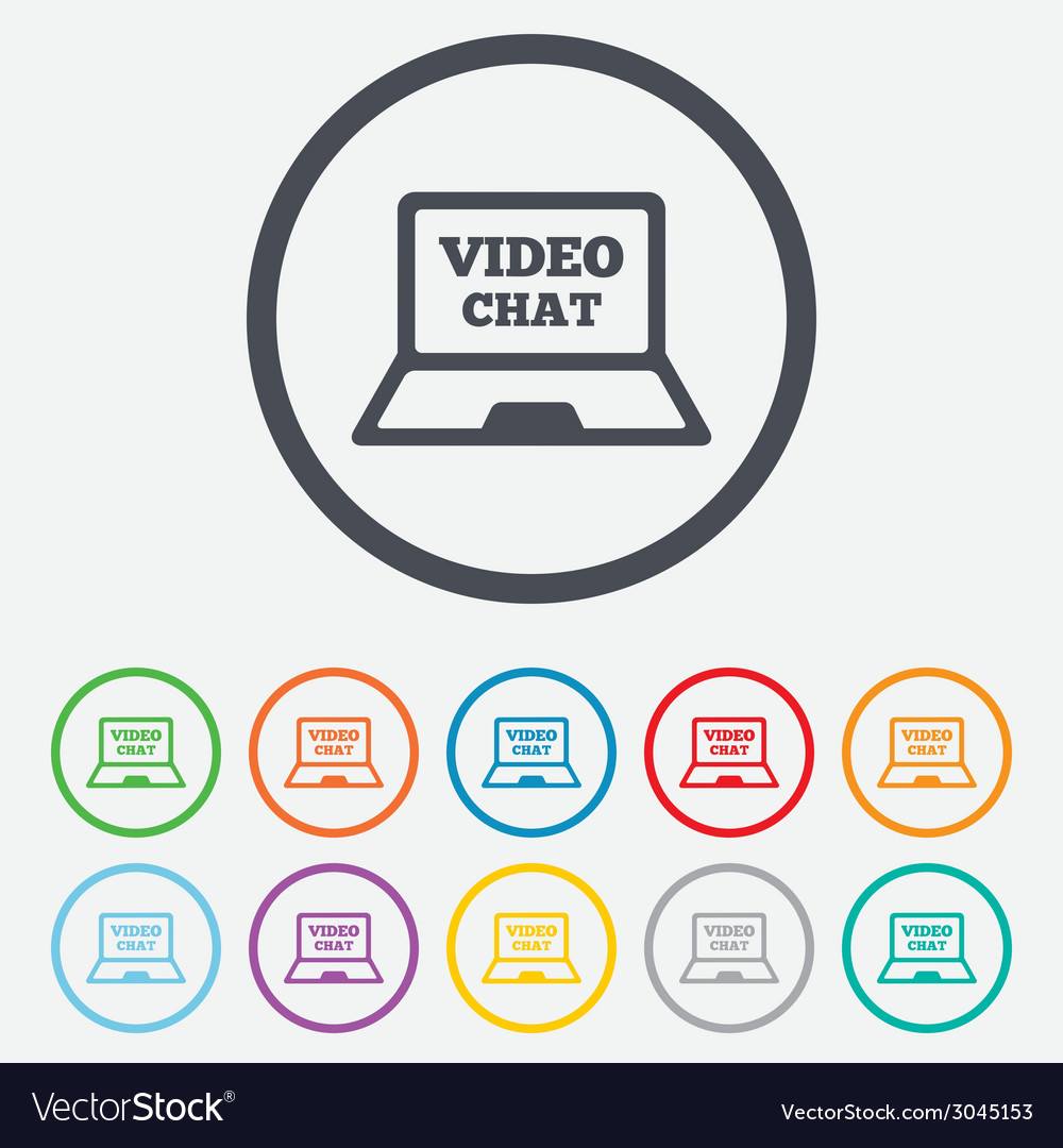 Video chat laptop sign icon web communication vector | Price: 1 Credit (USD $1)