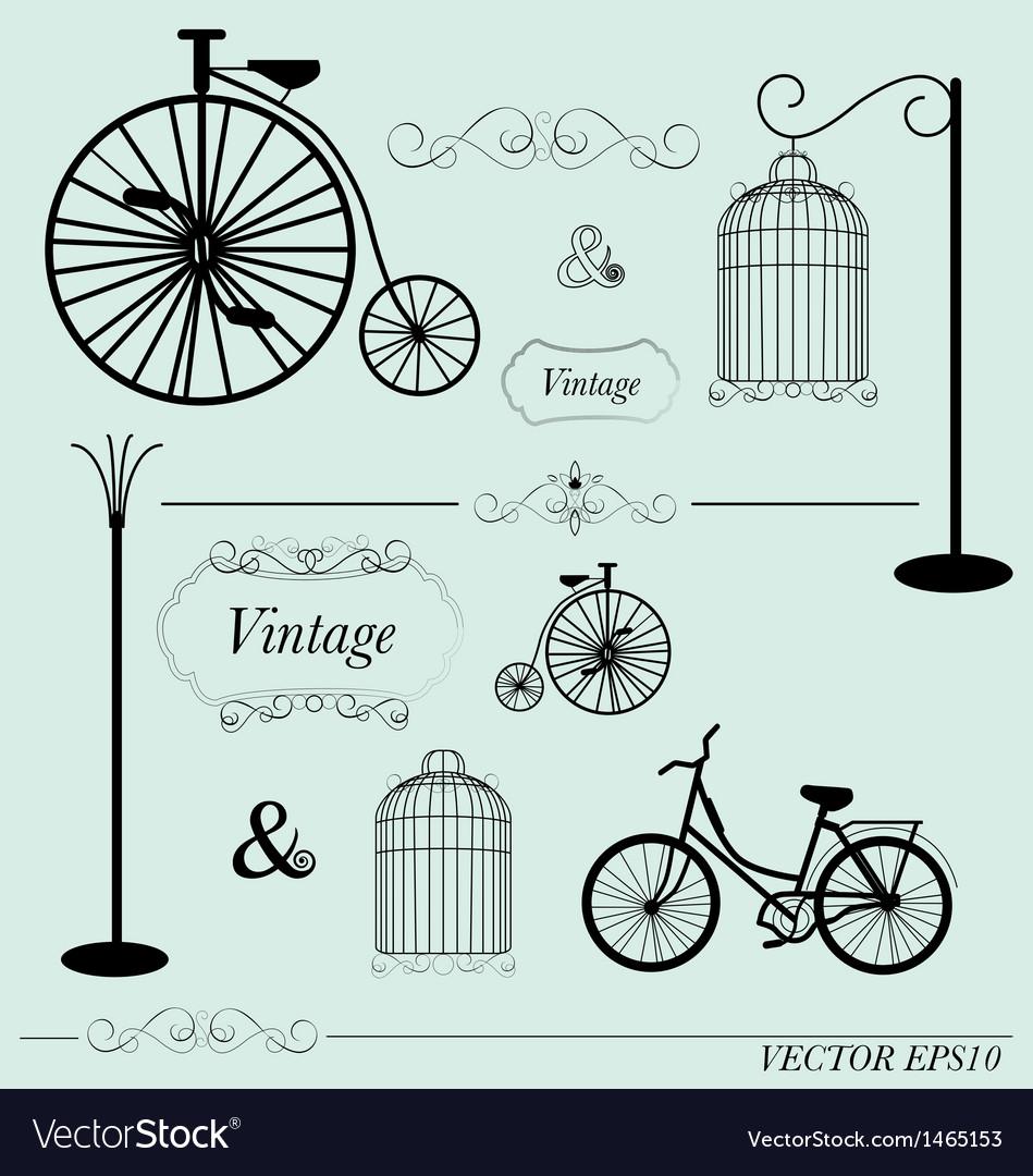 Vintage design elements set vector   Price: 1 Credit (USD $1)