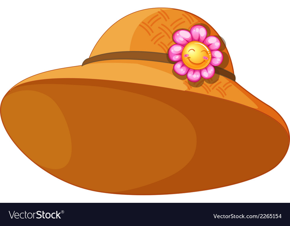 A brown hat with a flower vector | Price: 1 Credit (USD $1)