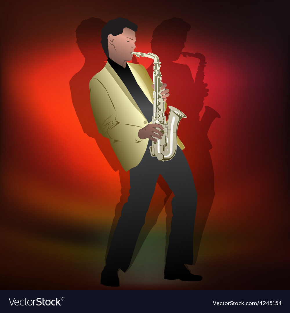 Abstract music jazz with saxophone player on red vector | Price: 3 Credit (USD $3)