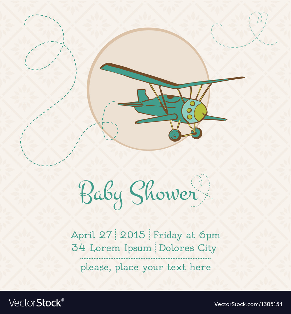 Baby shower or arrival card with plane vector | Price: 1 Credit (USD $1)