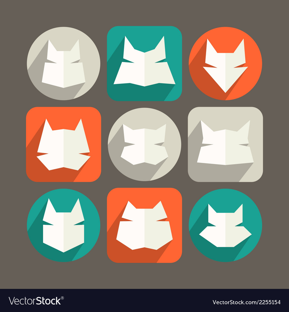 Cat icons in flat style and long shadow vector | Price: 1 Credit (USD $1)