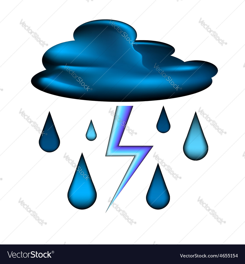 Cloud with lightning and rain drops icon vector | Price: 1 Credit (USD $1)