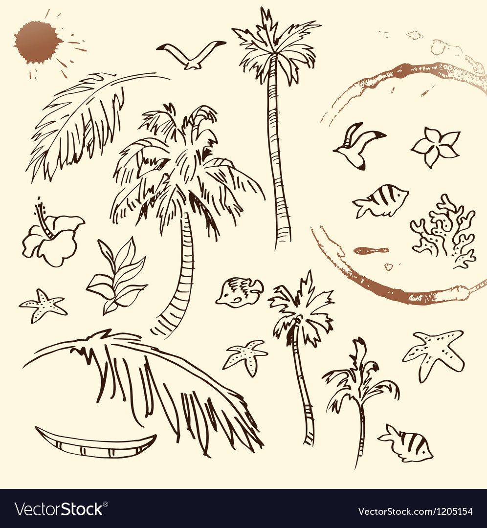 Collection of beach doodles vector | Price: 1 Credit (USD $1)