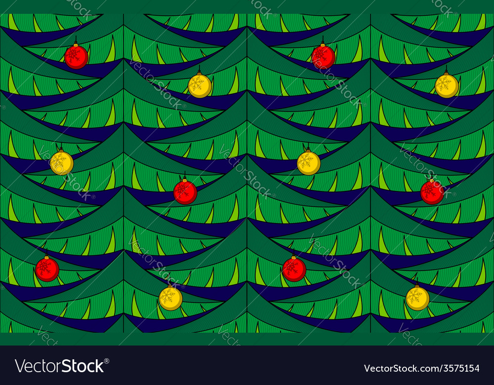 Fir seamless pattern with baubles vector | Price: 1 Credit (USD $1)