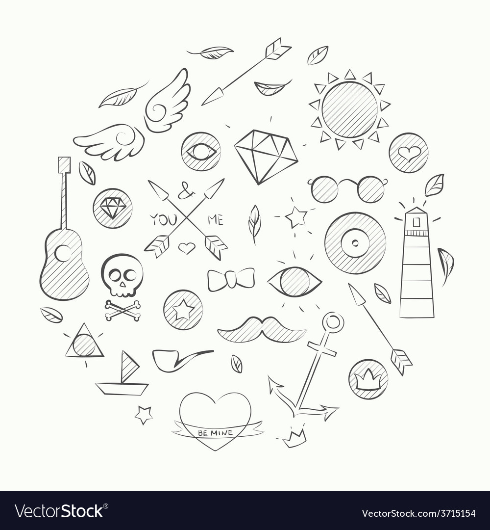 Hand drawn set of hipster elements over beige vector | Price: 1 Credit (USD $1)