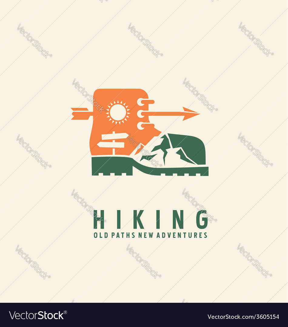 Hiking logo design template vector | Price: 1 Credit (USD $1)