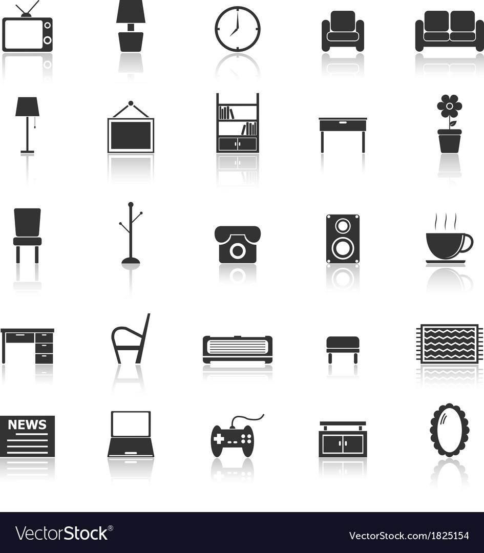 Living room icons with reflect on white background vector | Price: 1 Credit (USD $1)