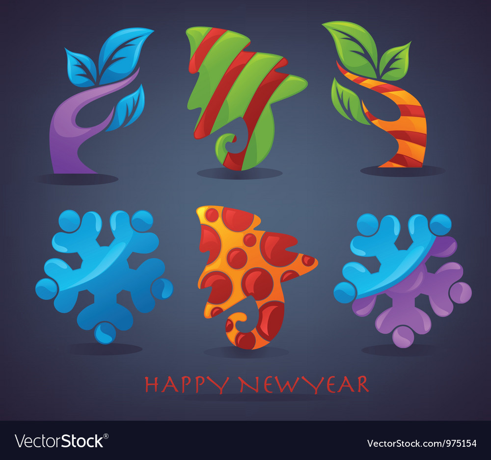 New year and christmas signs elements and icons vector | Price: 3 Credit (USD $3)