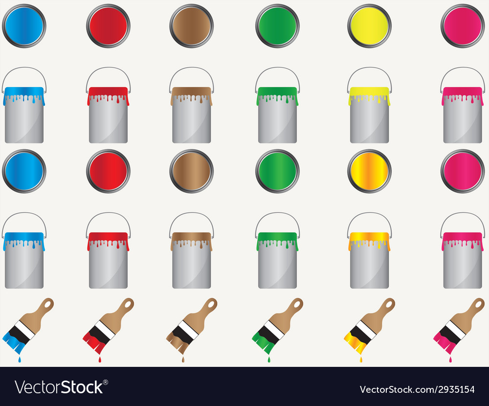 Paint cans and brushes vector | Price: 1 Credit (USD $1)