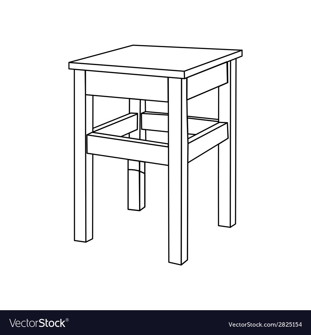 Retro wooden stool vector | Price: 1 Credit (USD $1)