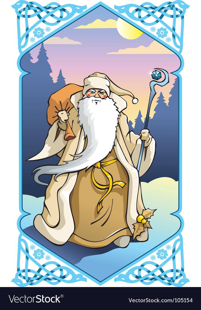 Santa claus in winter frame vector   Price: 3 Credit (USD $3)